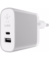 USB-C / USB-A Dual Home Charger, Silver